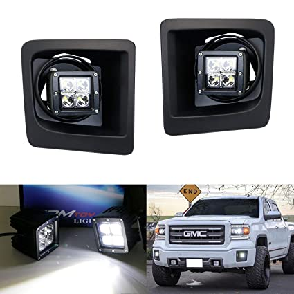 ijdmtoy led pod light fog lamp kit for 2014-15 gmc sierra 1500, includes
