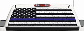 Amazoncom Truck SUV Police Thin Blue Line Flag Rear Window - Rear window hunting decals for trucksamazoncom truck suv whitetail deer hunting rear window graphic