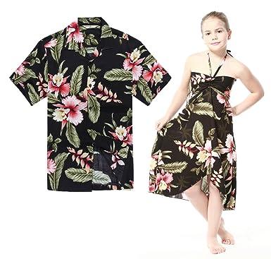 f10df49f7354 Matching Hawaiian Luau Outfit Men Shirt Girl Dress in Black Rafelsia Men S Girl  10