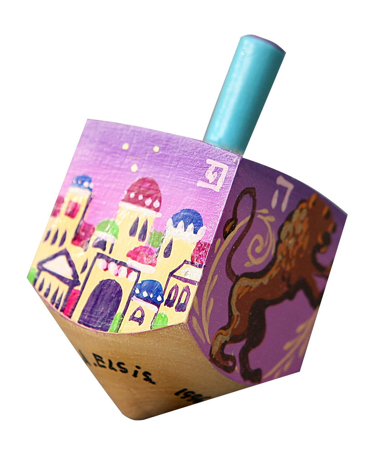 Hanukkah Chanukkah Dreidel Wood Hand Painted , Colorful Jerusalem Skyline Made By The Artist A. Elsis , 2.75'' x 1.4'' , Perfect & Great Gift for Hanukkah Collectors Kids Housewarming Birthday