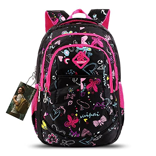 Bebamour Butterfly and Sweetheart Pattern Kids' Backpack School Bags (Black)