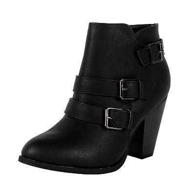 Amazon.com | Forever Women's Buckle Strap Block Heel Ankle Booties ...