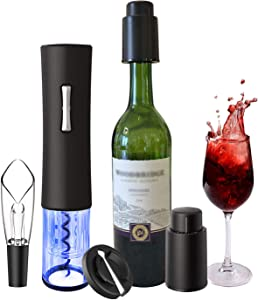 Electric Wine Opener, foneta Automatic Wine Bottle Corkscrew Set contains Foil Cutter, Wine Aerator Pourer and 2 Vacuum Stoppers, Bottle Opener Set for Party, Dating & Wine Lover (5 PCS Gift Set)