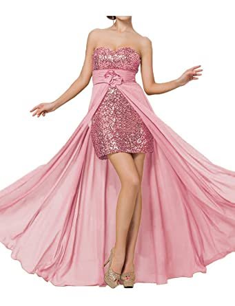 Promworld Womens High Low Sequins Detachable Evening Dress Prom Dress Blush US2