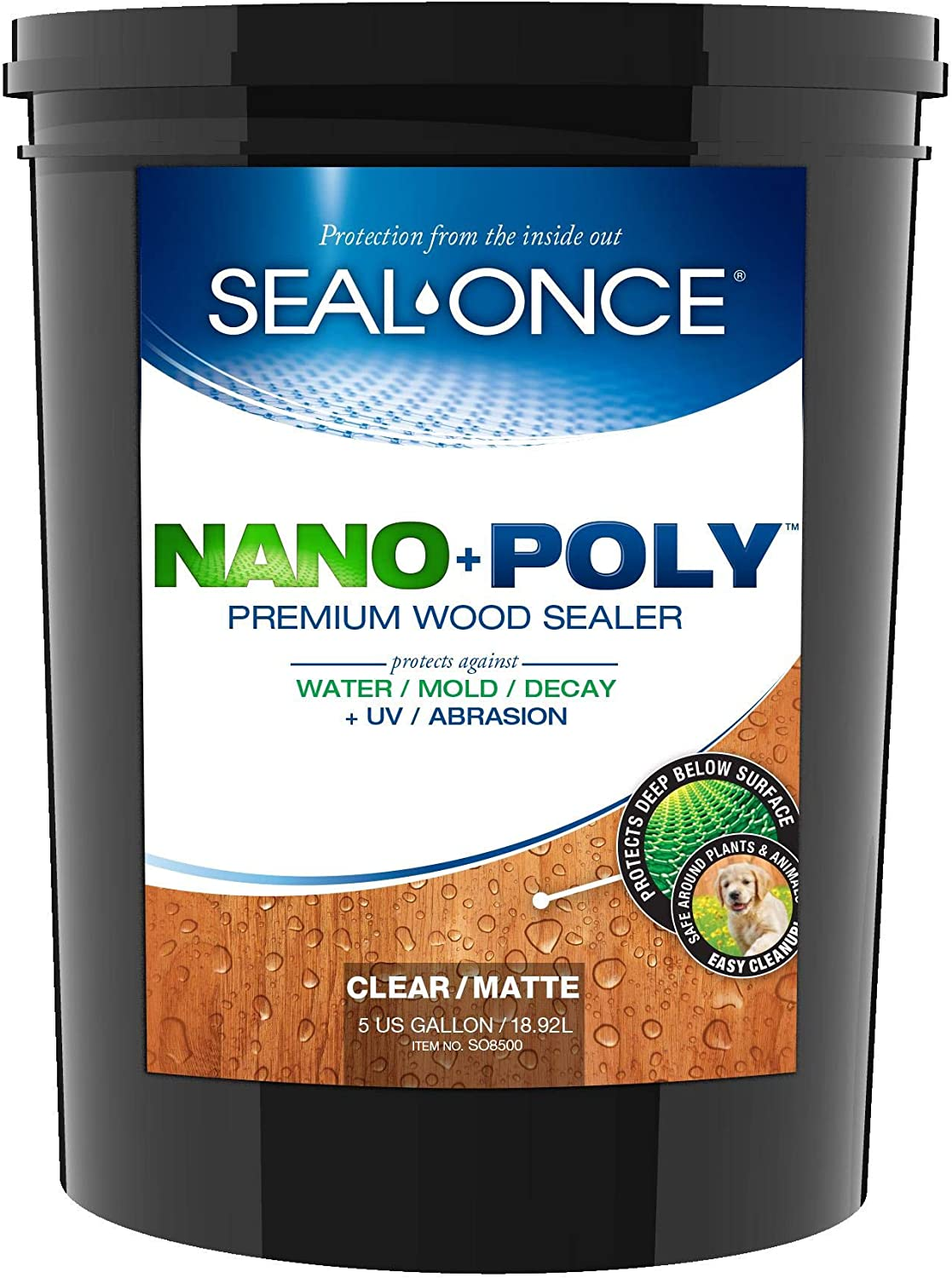 SEAL-ONCE NANO+POLY Penetrating Wood Sealer with Polyurethane - 5 Gallon. Water-based, Low-VOC, waterproofer & stain for decks, fences & log homes.