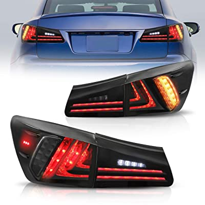 MOSTPLUS Tail Lights For Lexus IS350 IS250 2006-2012 (Set of 2) (Smoke Tinted): Automotive