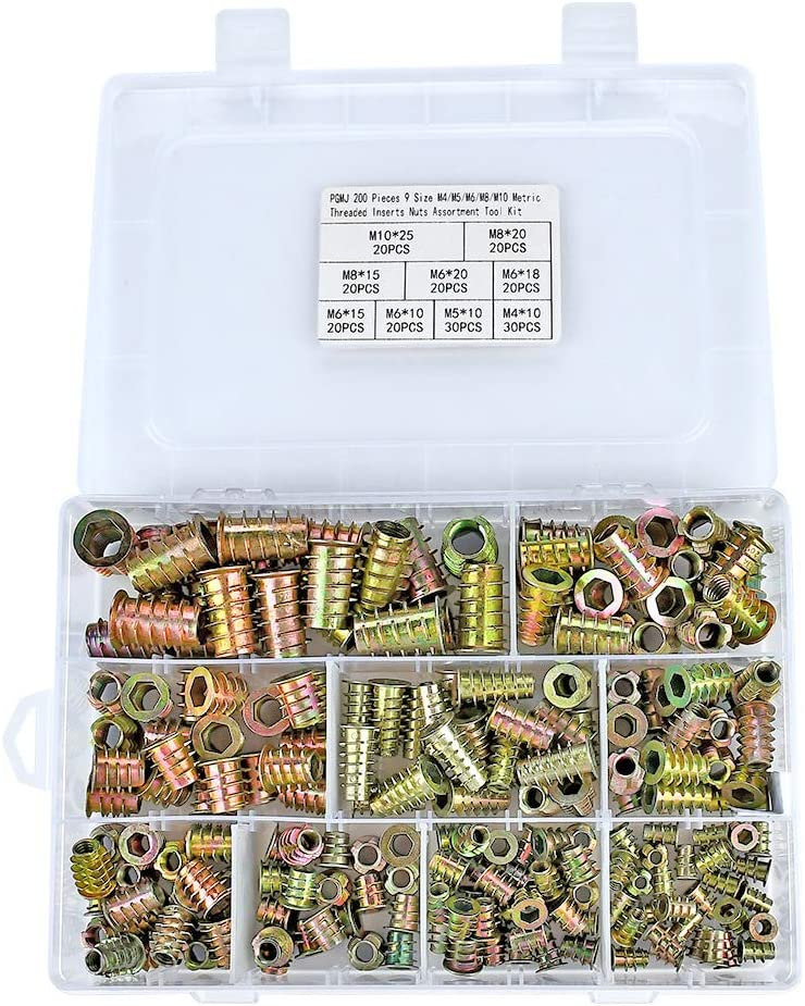 PGMJ 200 Pieces 9 Size M4//M5//M6//M8//M10 Metric Threaded Inserts Nuts Assortment Tool Kit for Wood Furniture Zinc Alloy Furniture Bolt Fastener Connector Hex Socket Screw Inserts