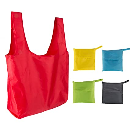 ba47e0fe013 LIHI Bag 5 Pack Ripstop Reusable Grocery Foldable Tote Bags Folding into Attached  Pouch
