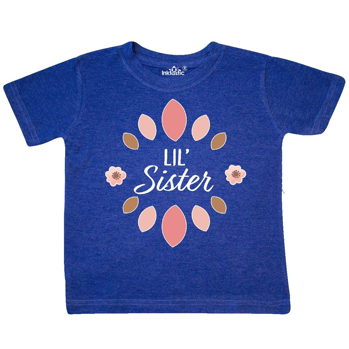 inktastic Lil Sister with Pink Flowers Toddler T-Shirt