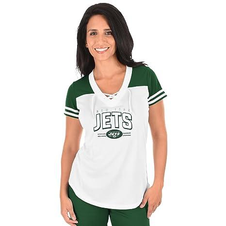 8f111f90 Profile Big & Tall NFL New York Jets Adult Women NFL Plus S/Lace Up V Neck  Tee,2X,WHT/Dk Grn