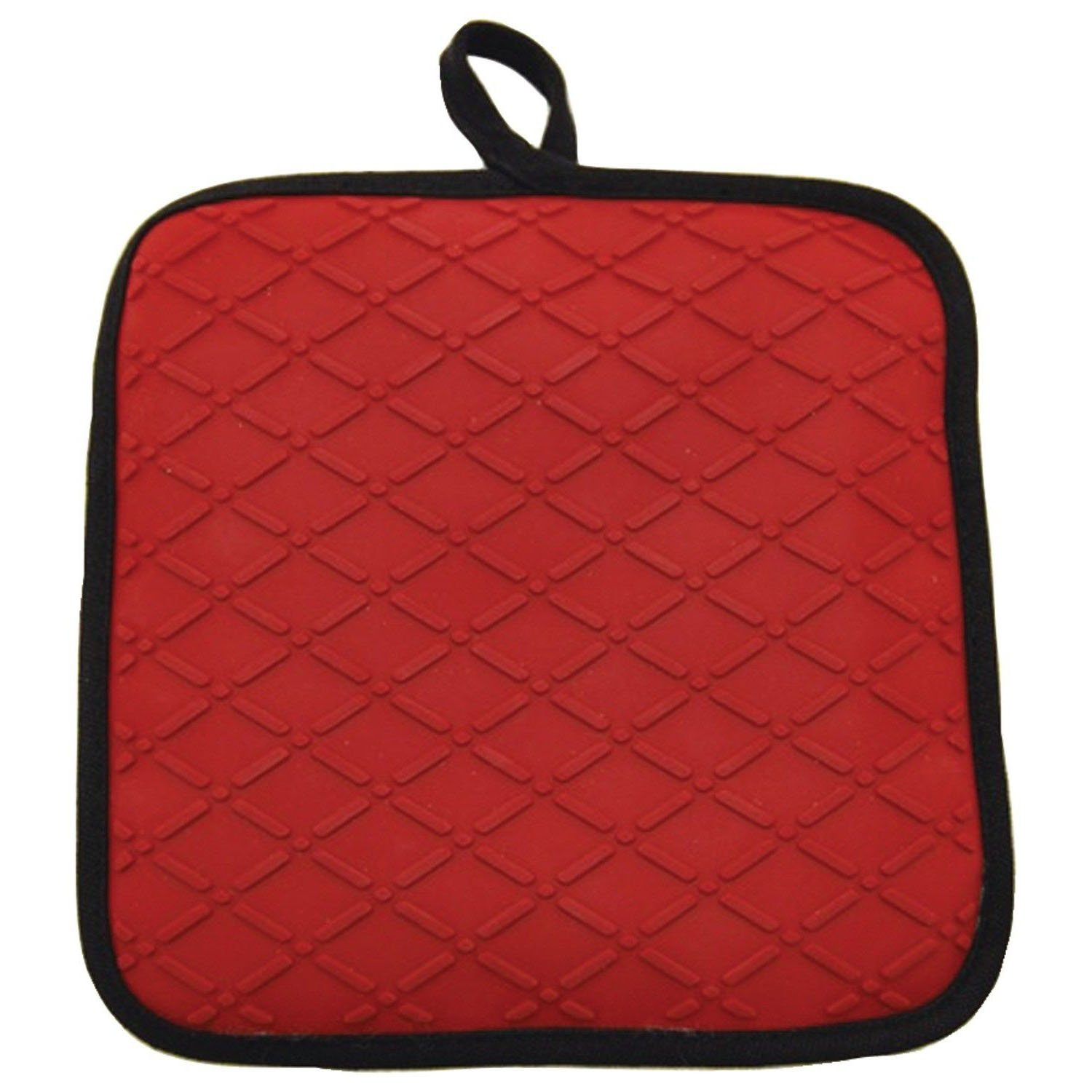 "Custom & Durable {9"" X 9'' Inch Each} One Single Mid Size ""Non-Slip"" Pot Holders Made of Silicone for Carrying Hot Dishes w/ Textured Modern Kitchen Restaurant Chef Style [Red & Black]"