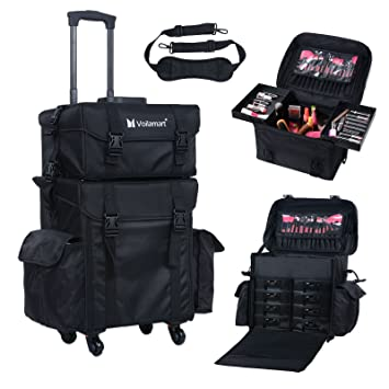 Superieur Voilamart Rolling Makeup Case Trolley 2 In 1 Travel Cosmetic Train Cases On  Wheels   Nylon