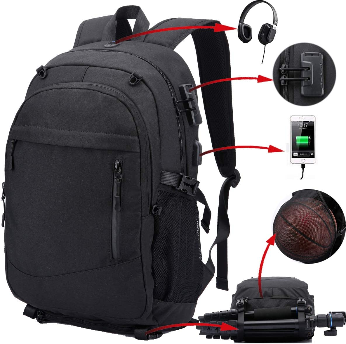 Travel Laptop Backpack for Men, Water Resistant Large School Backpack with Anti-Theft Lock, College Basketball Bag USB Charging Port Soccer Sports Backpack Gym with Headphone Jack