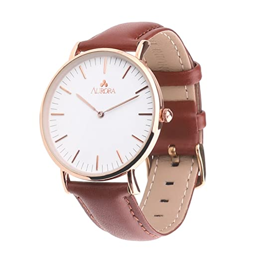 965cbf129 Amazon.com: Aurora Women's Metal Retro Casual Round Dial Quartz Analog  Wrist Watch with Brown Leather Band-Rose Gold: Watches