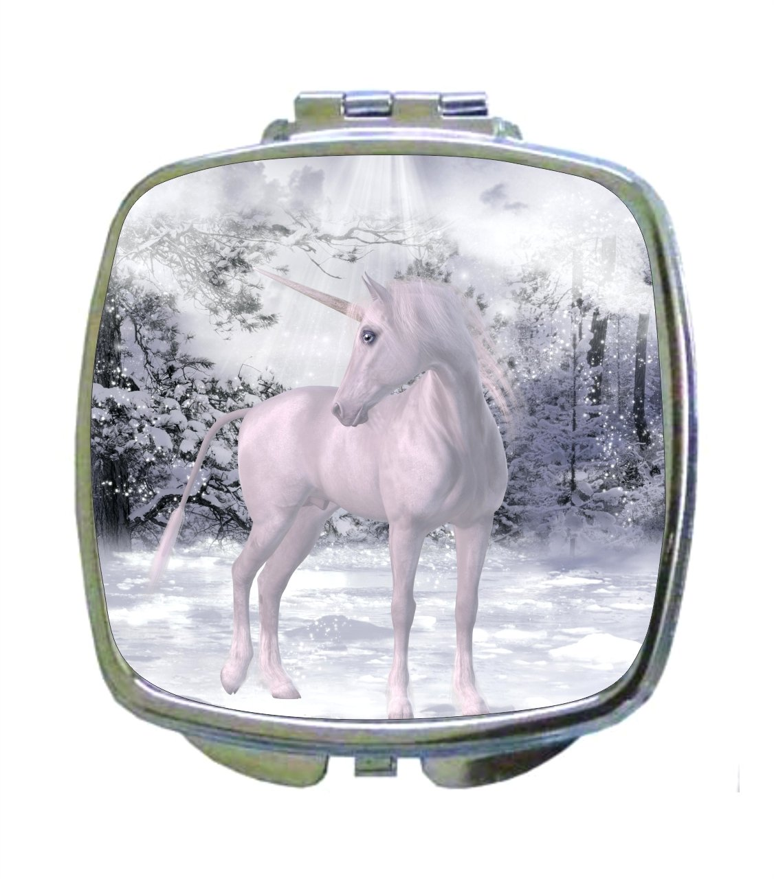 White Unicorn with a Halo - in the Snowy Woods - Compact Mirror in Silvertone - Square Shaped - Pocket Sized