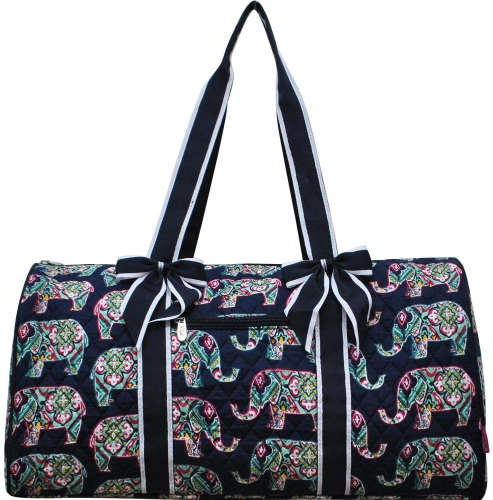 NGIL Quilted Weekend Travel Overnight 20 Large Duffle Bag 2018 Spring Collection Elephant Navy Blue