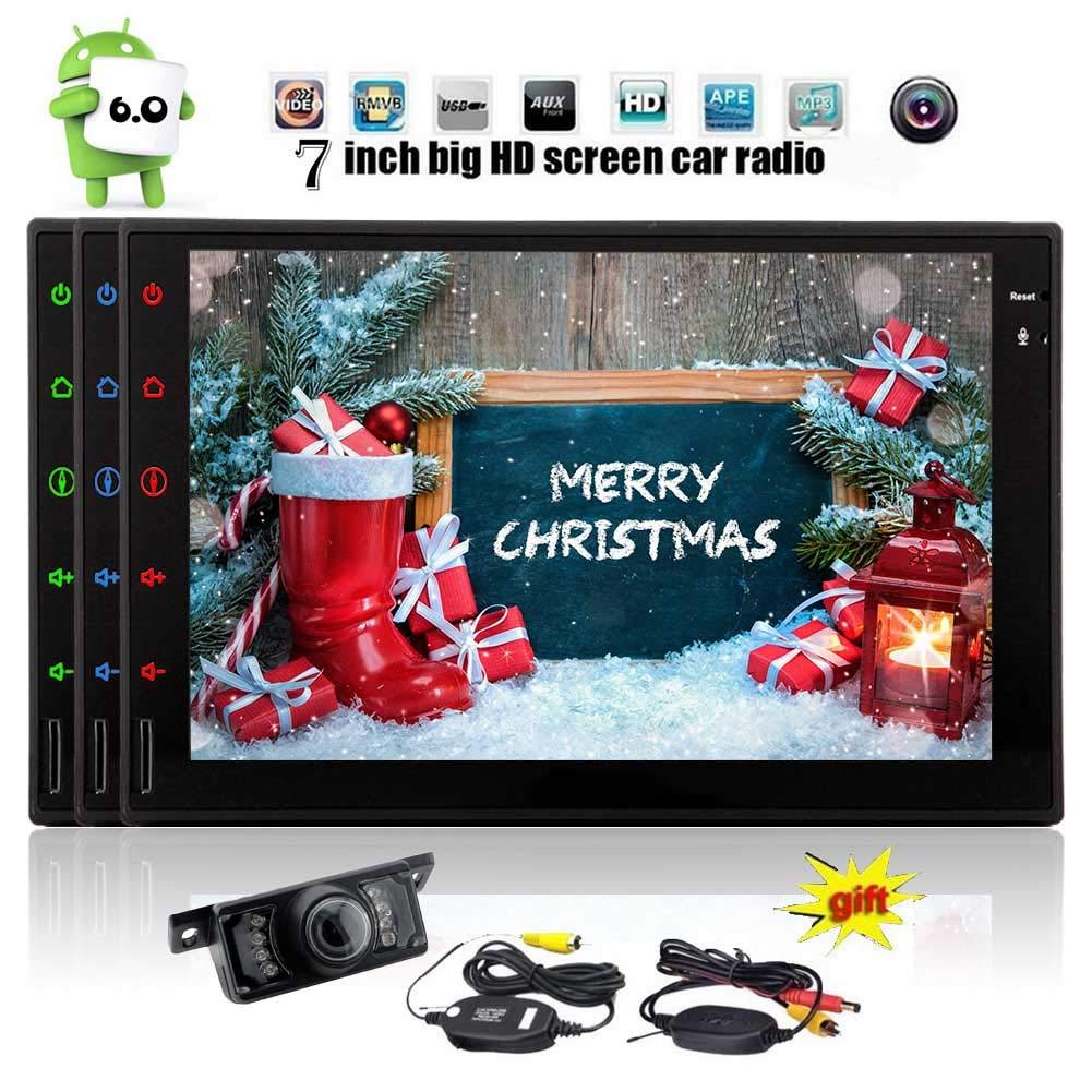 ワイヤレスリアカメラ7インチのダッシュAutoradioハンズフリーのBluetoothタブレットの無線LAN / USB/SD / Mirrorlinkヘッドユニットで6.0マシュマロシステムナビゲーション車のビデオプレーヤークアッドコアのAndroidステレオダブル喧騒を含めます   B07MKN3ZFC