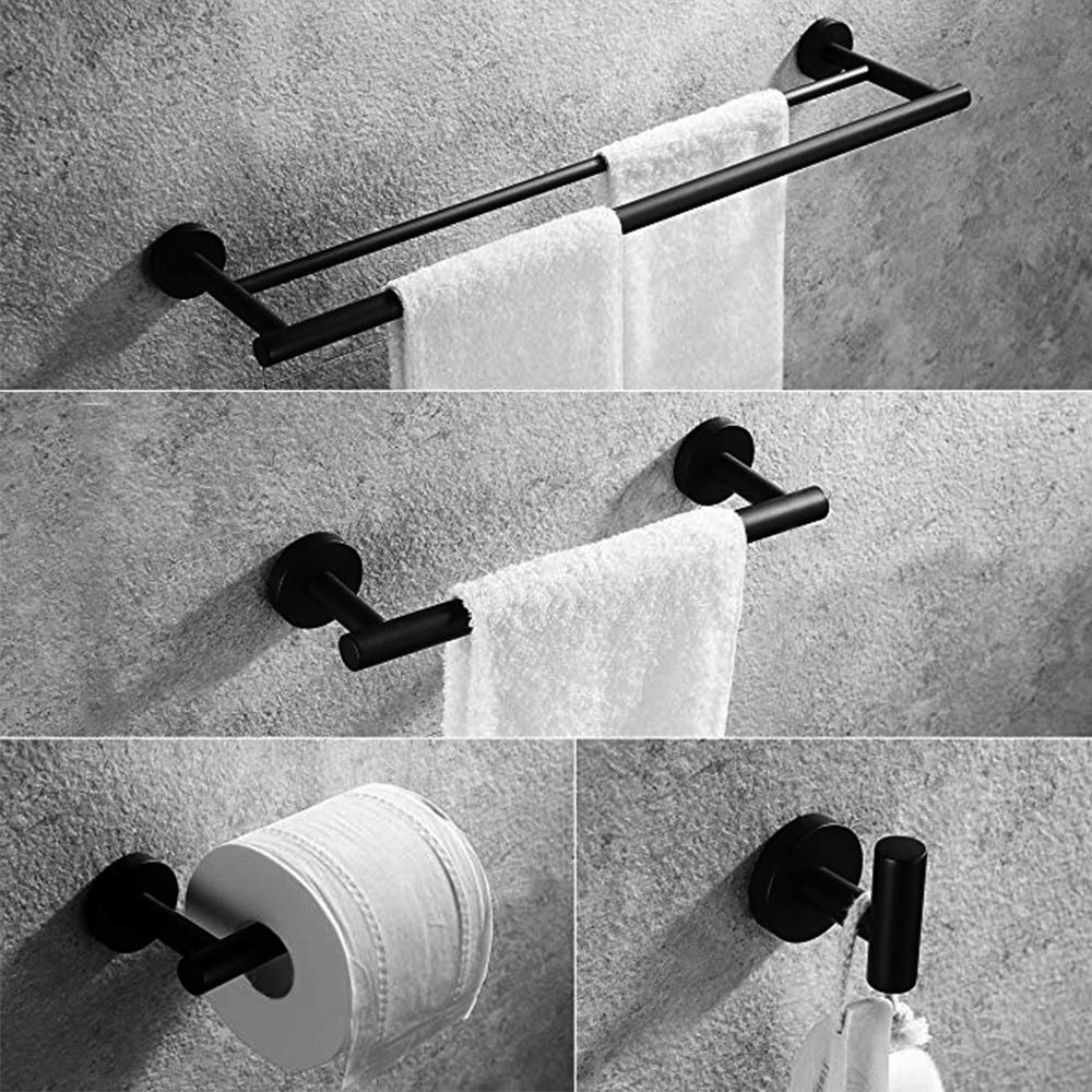 Gexmil Stainless Steel Bathroom Hardware Set Matte Black 4 Pieces Bathroom Hardware Accessories Sets Wall Mounted Double Towel Bar Towel Holder Hook Toilet Paper Holder Mounting Tools Included