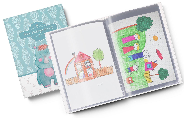 10 H/üllen//20 Seiten A4 Sammelmappe Meine Kindergartenzeit Nashorn Geschenkidee Kindergeburtstag