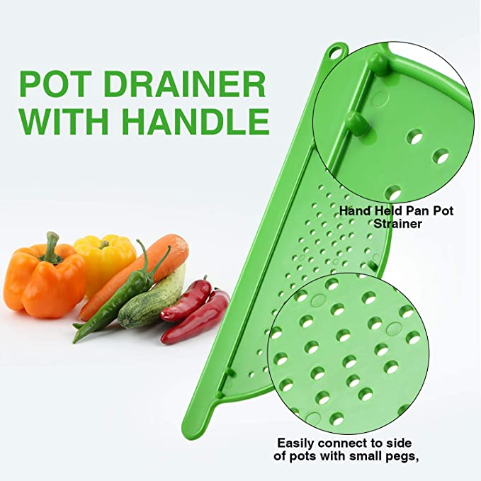 Pasta Fruit Great for Noodles Fits up to 9 Pots Hand Held Pot Drainer with Handle Veggies and more!