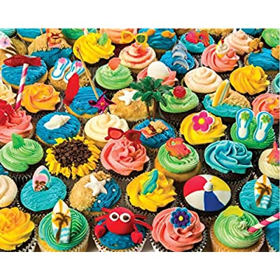 Jigsaw Puzzle 500 Piece Art for Teen Adult Grown Up Puzzles Large Toy Games Educational Gift Home Decor Intellectual Game- Summer Cupcakes Jigsaw Puzzle: Toys & Games
