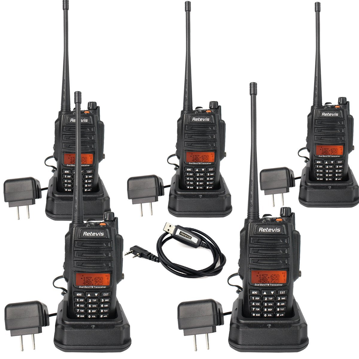 Retevis RT6 2 Way Radio IP67 Waterproof and Dust Proof Dual Band VHF/UHF 136-174Mhz/400-520Mhz 5/3/1W Ham Radio with Waterproof Earpiece (5 Pack) and Programming Cable (1 Pack)