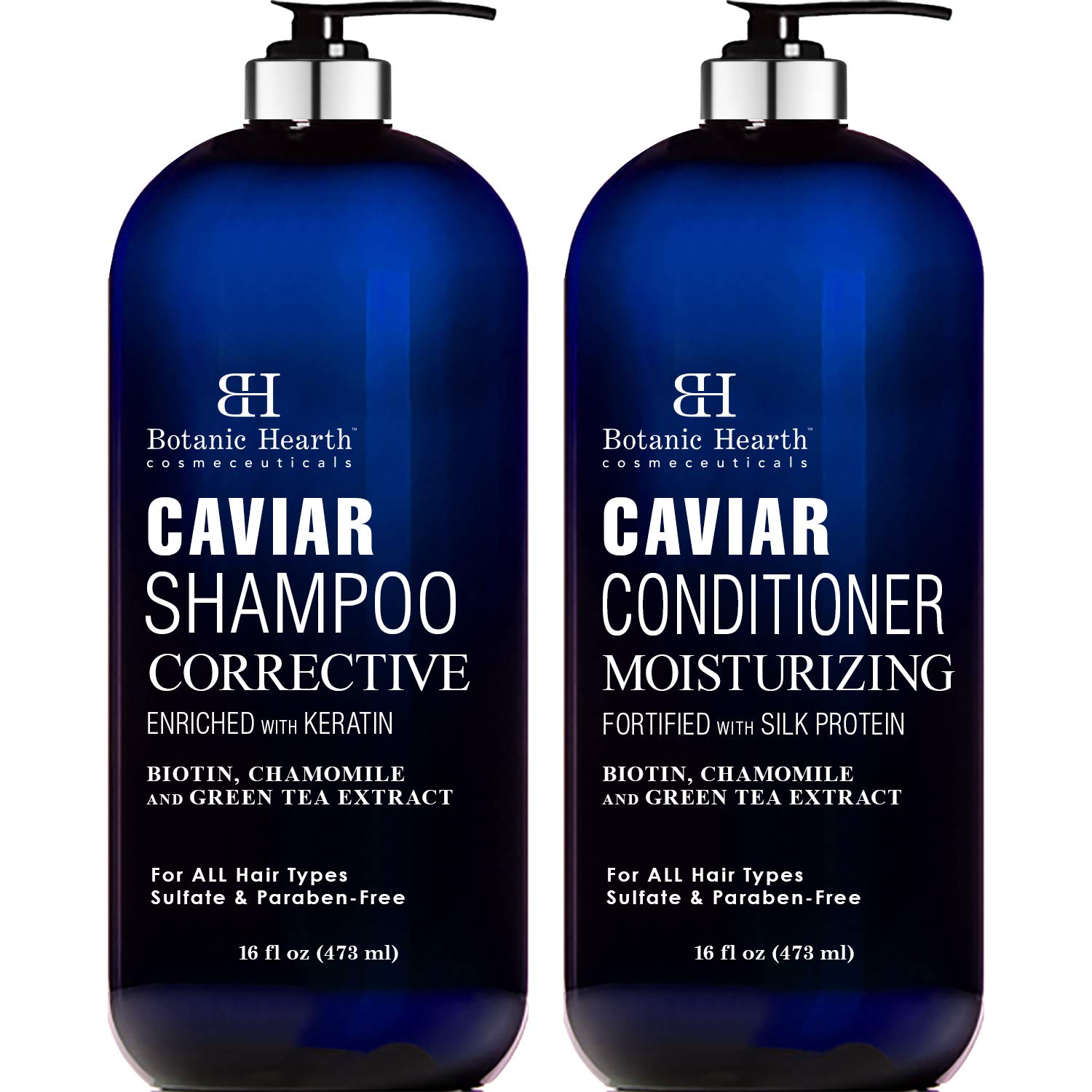 Botanic Hearth Caviar Shampoo and Conditioner Set - Sulfate Free, Shampoo Enriched with Keratin & Conditioner with Silk Protein - for Men and Women - Safe for Color Treated Hair - 16 fl oz x 2 by Botanic Hearth