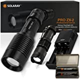 SOLARAY Handheld LED Emergency Flashlights – Professional Series ZX-2 Kit – Super Bright 1200 Lumens – 5 Light Modes, Adjustable Focus, Outdoor Water Resistant – Rechargeable Battery, Charger