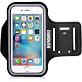 SmashTerminator® Universal Sweat-Resistant Sports Armband for iPhone 7, iPhone 6s, iPhone 6, Samsung S8/S7/S6, Huawei, Nexus, Android and many more phones with Screens Up to 5.5 inches - Ideal for Running, Jogging, Hiking, Biking, Gym - with Key Holder.