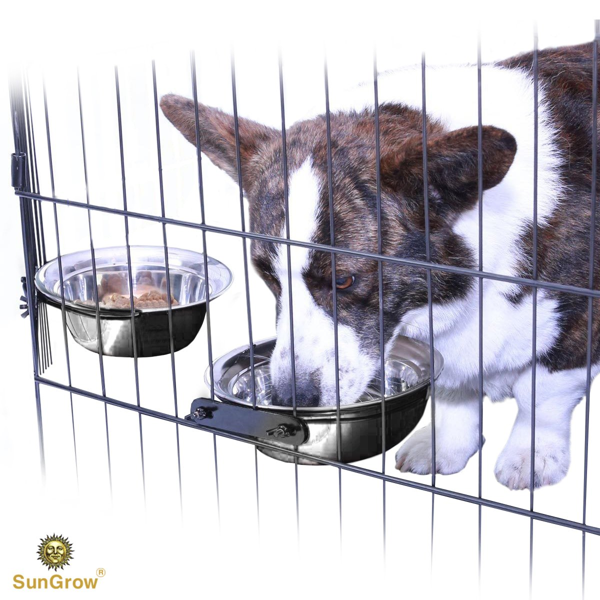 SunGrow 2 Stainless Steel Bowl for Pets by Easily attaches to cage; Perfect for Cats and Dogs; Simple removal; Reduce water and food spills; 30 oz/20 oz