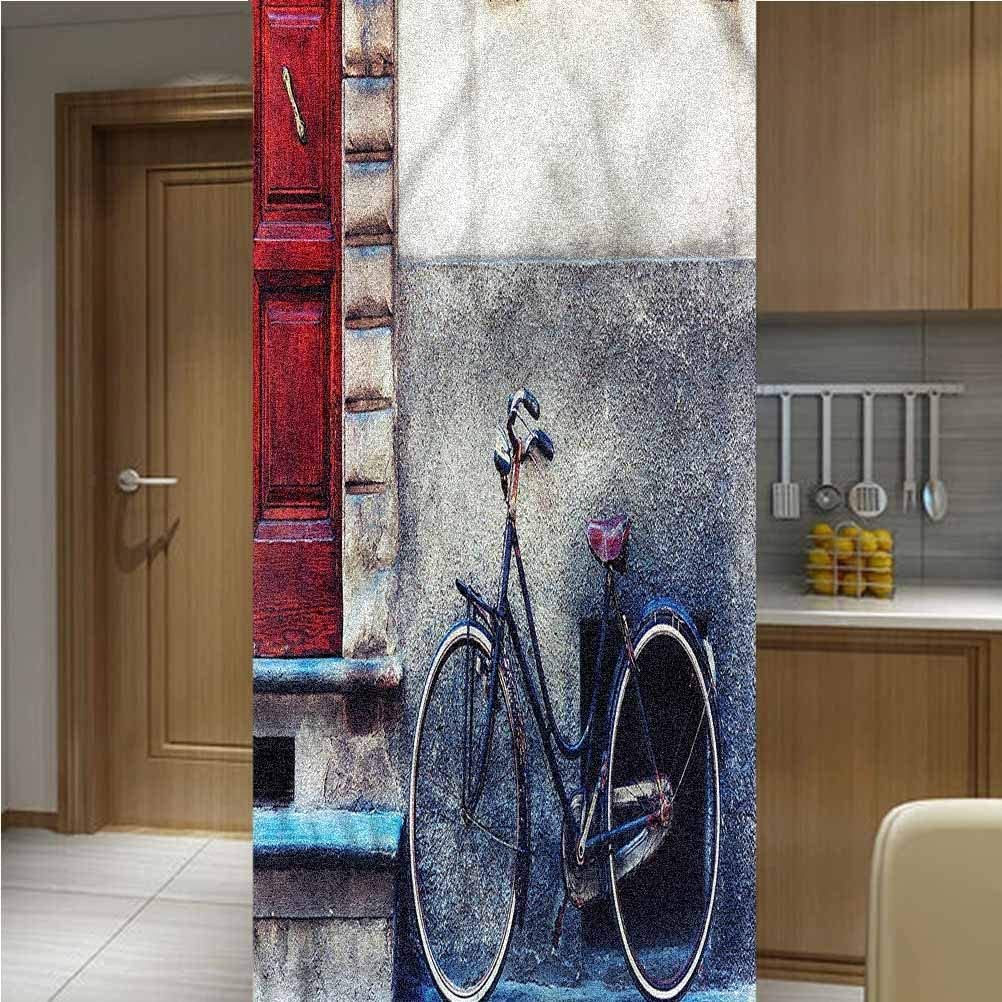 LCGGDB Bicycle ONE Piece 3D Printed Window Film Privacy Glass Film,Bike Leans on Wall Urban Non Adhesive Frosted Home Office Film Privacy Window Sticker,35.6