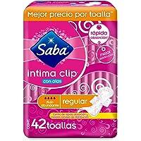Saba Intima Clip; Toalla Femeninas para Flujo Abundante, Centro de Rápida Absorción; 42 Toallas