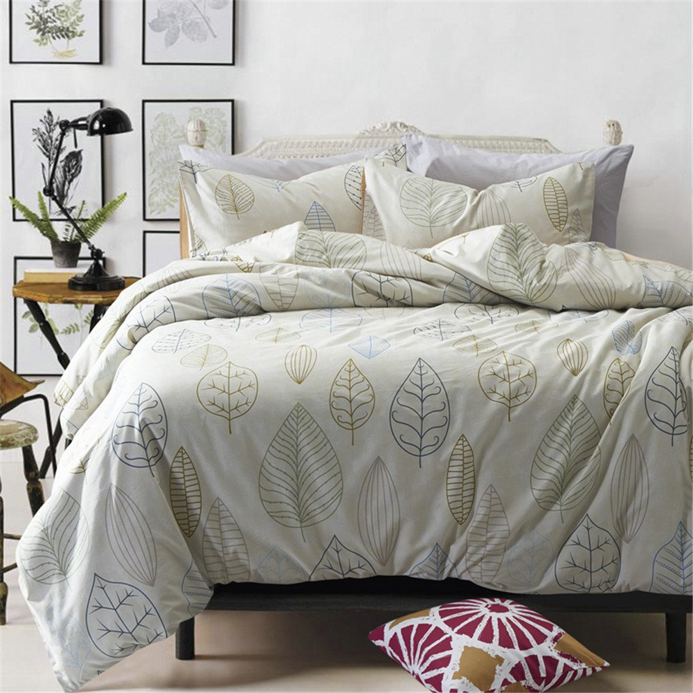 Vougemarket Autumn New Style Duvet Cover Set with Leaves Printed Pattern,Full/Queen Bedding Set-King,Leaf