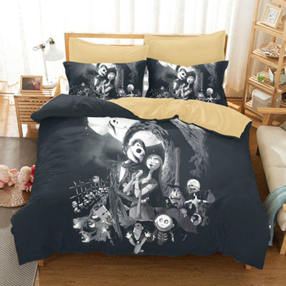 Koongso 3D Funny Cartoon Pattern Print Bedding Sets,Scarecrow Style Nightmare Before Christmas Duvet Cover with Pillowcase Gift 3D Terrorist Design