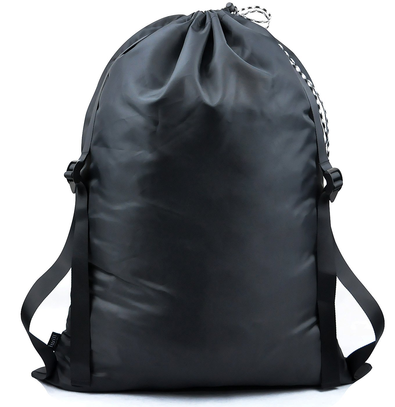 """『25""""X31""""』 Carry Handy Laundry Bag with 2 Strong Adjustable Shoulder Straps for Laundromat, Just Right Size & Heavy Duty,Free Your Hands with Backpack Laundry Bag, Black"""
