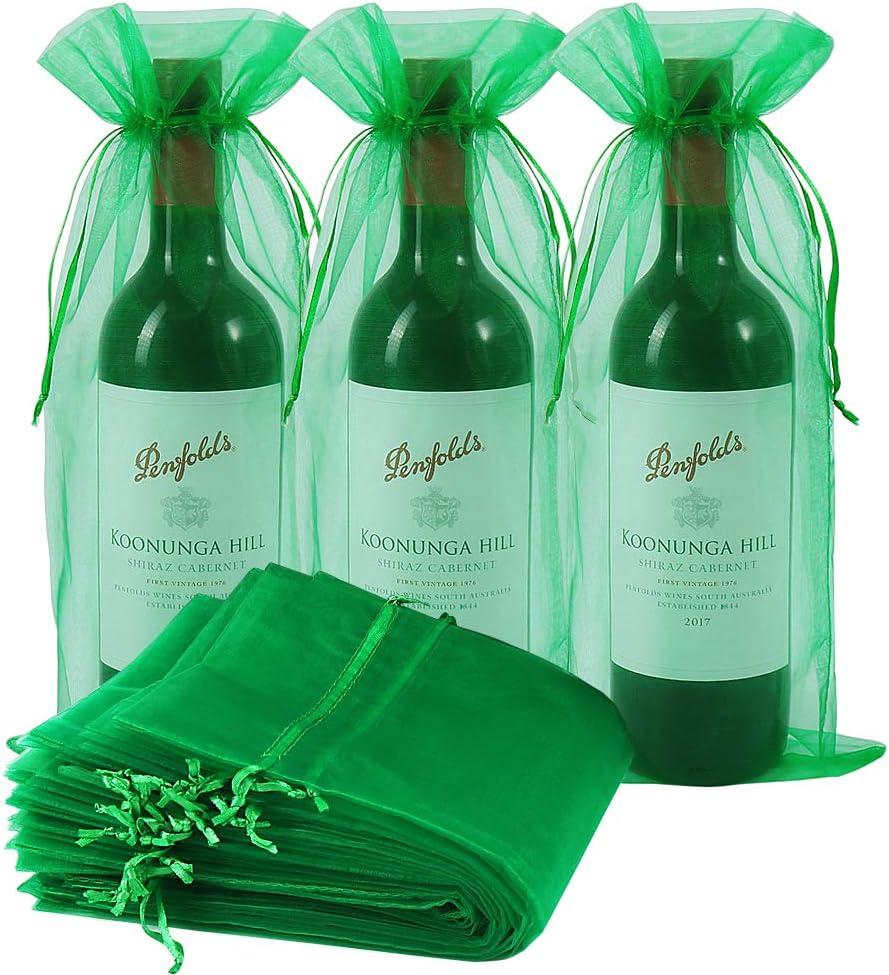 Bolsas de vino de organza, 30 unidades, bolsa de regalo para botella de vino con cordón para bodas, cumpleaños, festivales, regalos (verde hierba, 750 ml): Amazon.es: Hogar