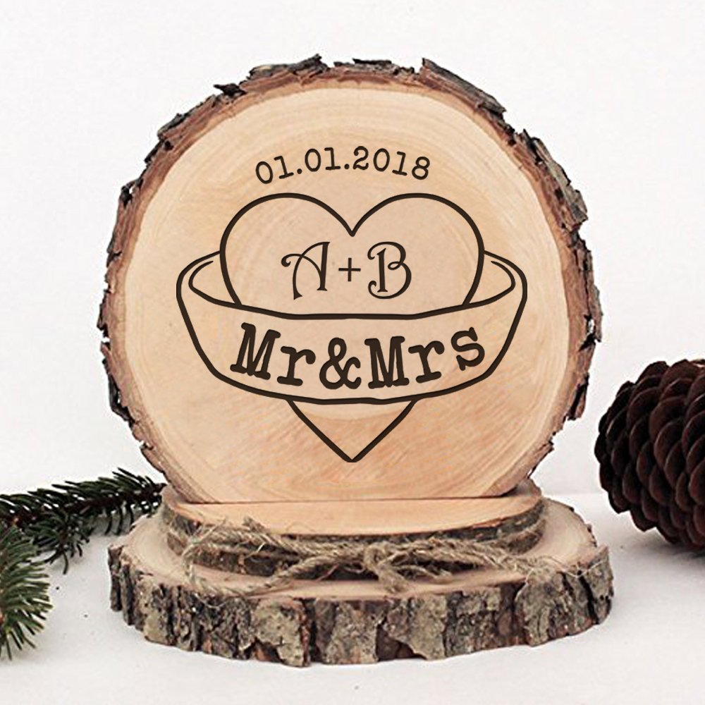 KISKISTONITE Wooden Wedding Cake Toppers Rustic, Personalized Initials Warm Hearts Design, Engraved Mr and Mrs Country Style Cake Decoration Favors Party Decorating Supplies by kiskistonite (Image #1)