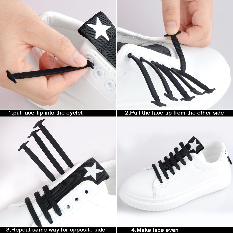 Lacci Scarpe Elastici, Elastico Silicone Scarpe | No Tie Lacci für Trainer, Sportschuhe Sneakers Schuhe Running Schuhe Board Schuhe Stiefel Schuhe und Casual Schuhe von NWSS (nero)