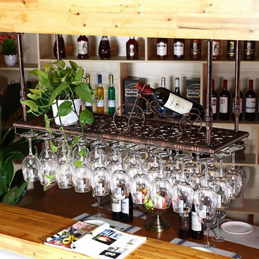 ワインラック 赤いワインのラックヨーロッパの鉄をぶら下げカップホルダー赤ワインガラスのフレーム逆さまワインラックワイングラスバーバーの高さカップホルダー (色 : A, サイズ さいず : L60*w35cm) B07GXV2TJS L60*w35cm|A A L60*w35cm
