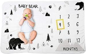 Bear Baby Monthly Milestone Blanket Unisex Bear Woodland Nursery Decor with 2 Frames and Bib Baby Milestone Blanket Premium Soft Flannel Newborn Baby Shower Photography Background