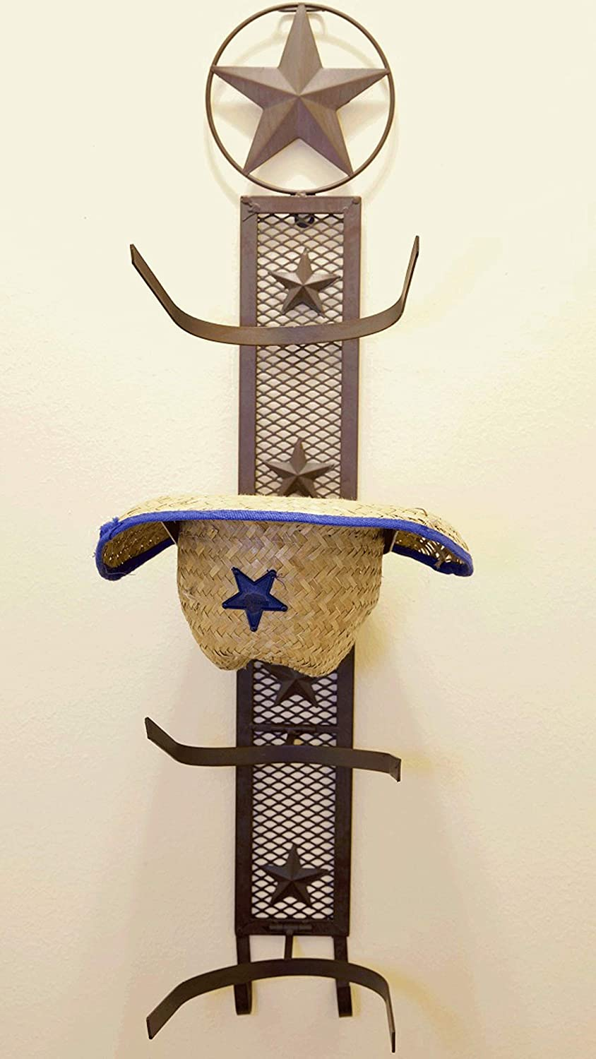 BestGiftEver Metal Star 4 Cowboy Hat Rack Fold-Up Wall Hanging Decoration Rustic Western Style