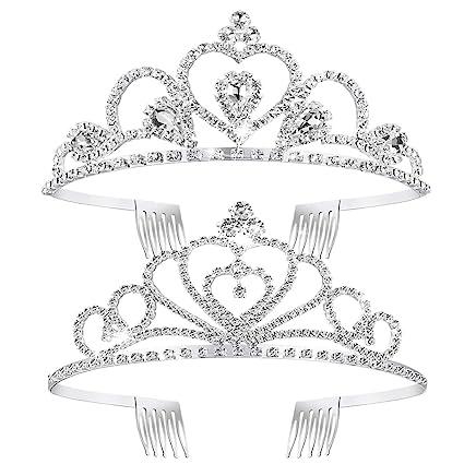 corona tiara princesa tiara de cristal Frcolor paquete de 2 para boda cumplea/ños concurso novia Tiara de diamantes de imitaci/ón