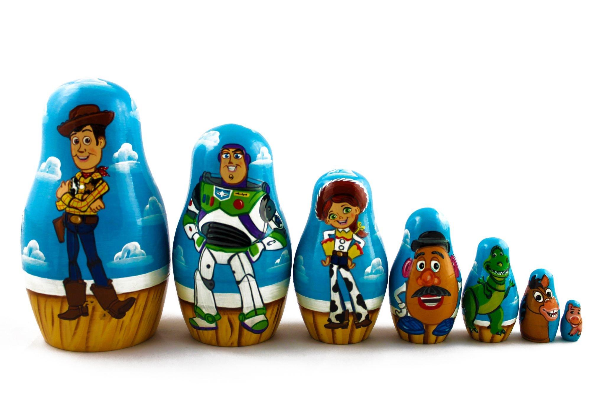 Matryoshka Russian Nesting Wooden Doll Toy Story Cartoon 7 Pcs Set Funny Decorative Stacking Hand Painting Beautiful Nested Great Gift Craft