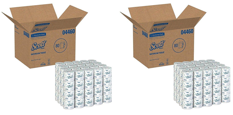 Kimberly-Clark Professional GID-881029 Scott 2-Ply Standard Roll Bathroom Tissue, White (Case of 80 Rolls) (2 CASES)
