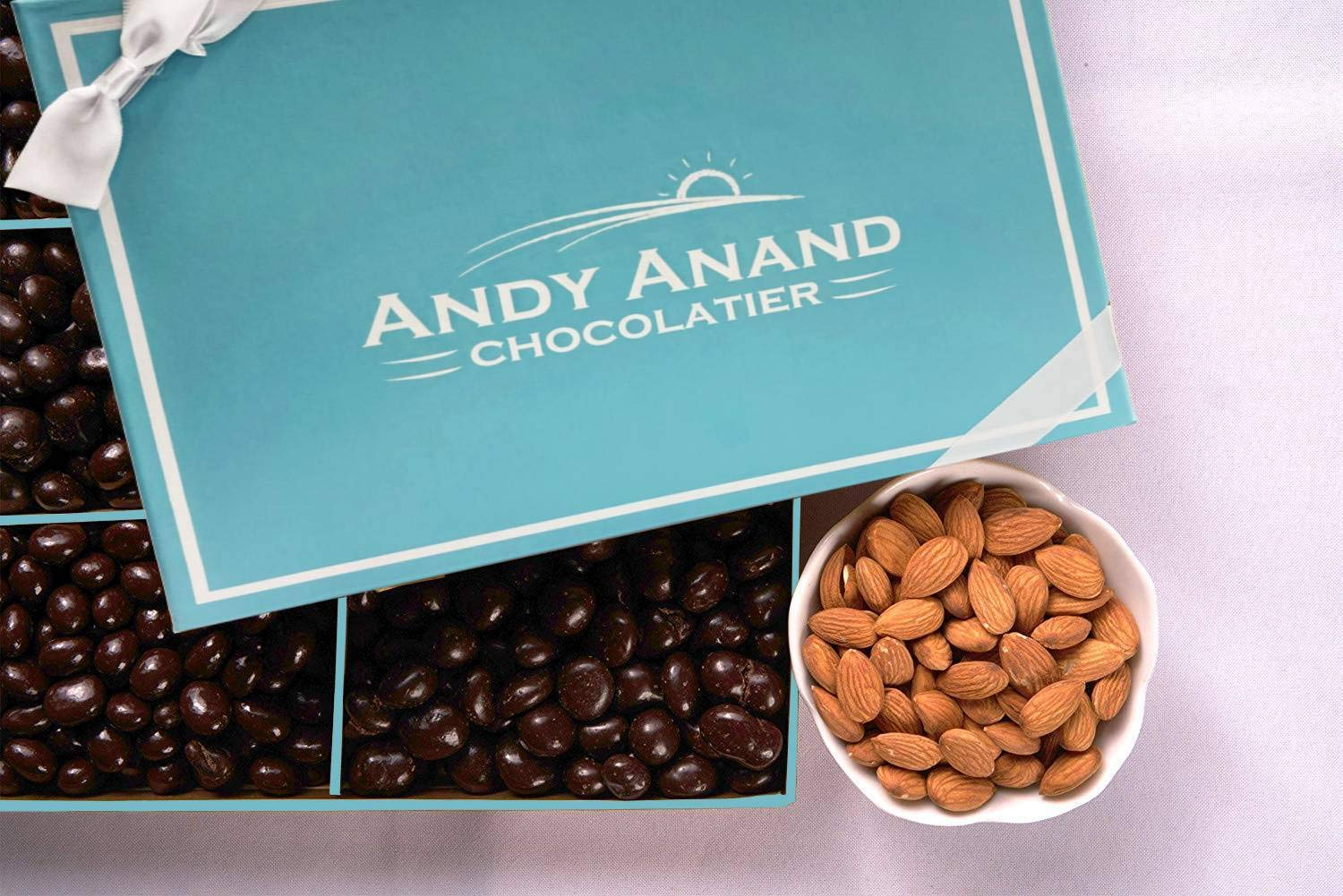 Andy Anand's Dark Chocolate covered Almonds 1 lbs, & Greeting Card, for Birthday, Valentine Day, Gourmet Christmas Holiday Food Gifts, Thanksgiving Halloween, Mothers day, Get Well Basket, Unique Gift