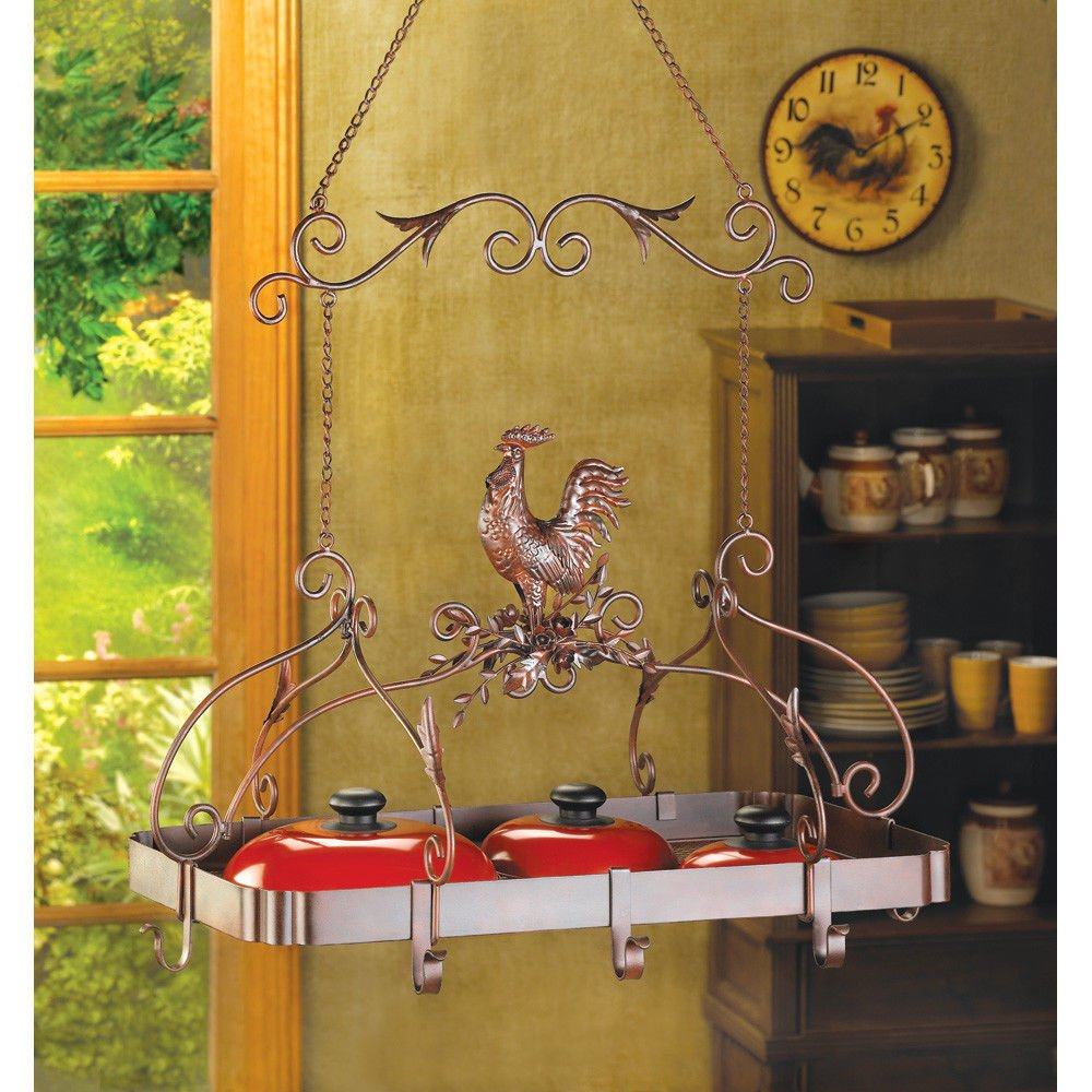 lunanice Rust Red Color Tuscan Country Rooster Kitchen Pot Rack Pan Holder Hanging Home Organizer Gift