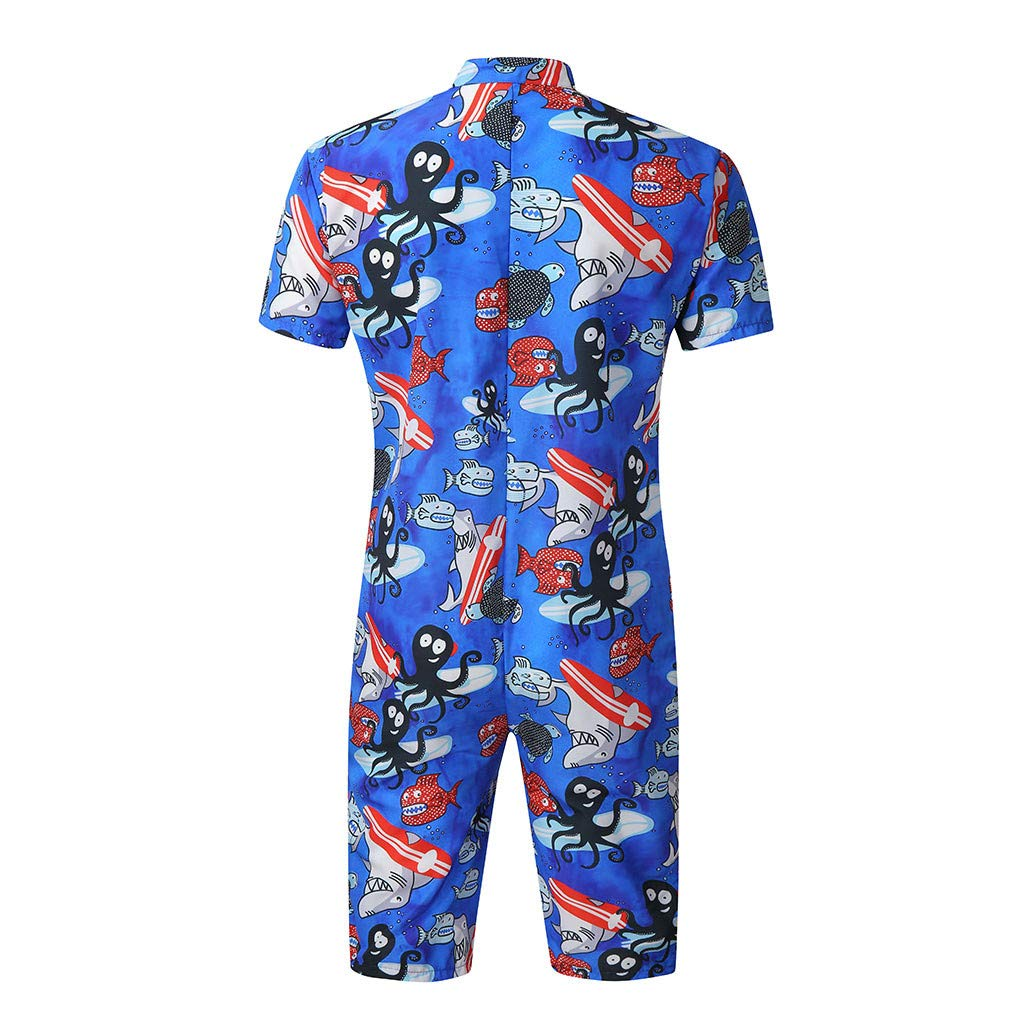 Allywit Mens 2019 New Designed Rompers 3D Fashion Print Short Sleeve Zip One Piece Summer Jumpsuit with Pocket M-XXXL
