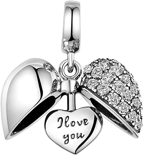 GW Charms Amour Cœur en Argent Sterling 925 avec Cristal pour Bracelets  Pandora