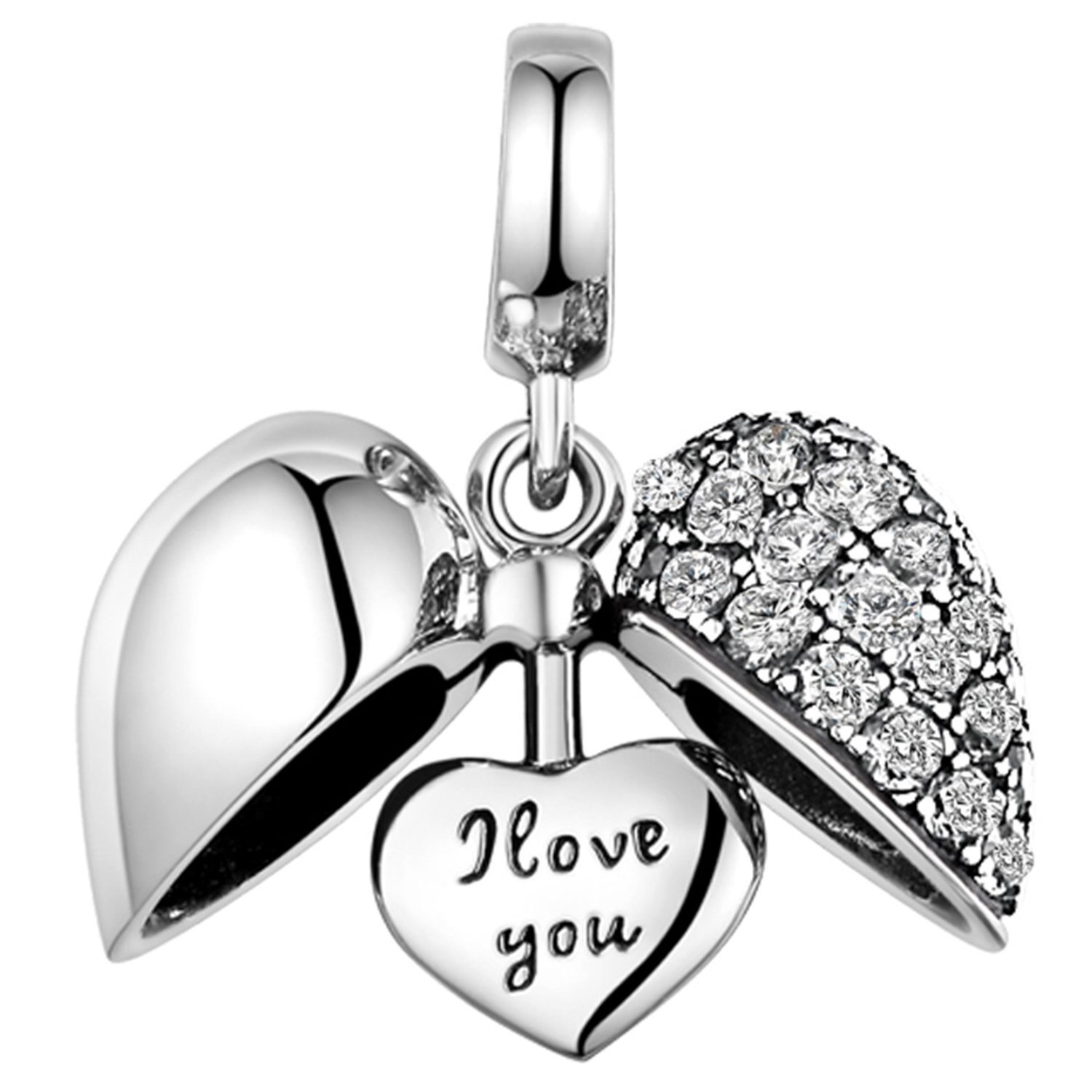 Lovans 925 Sterling Silver I Love You Heart Crystal Charm for Bracelet Mom Father Brother Wife
