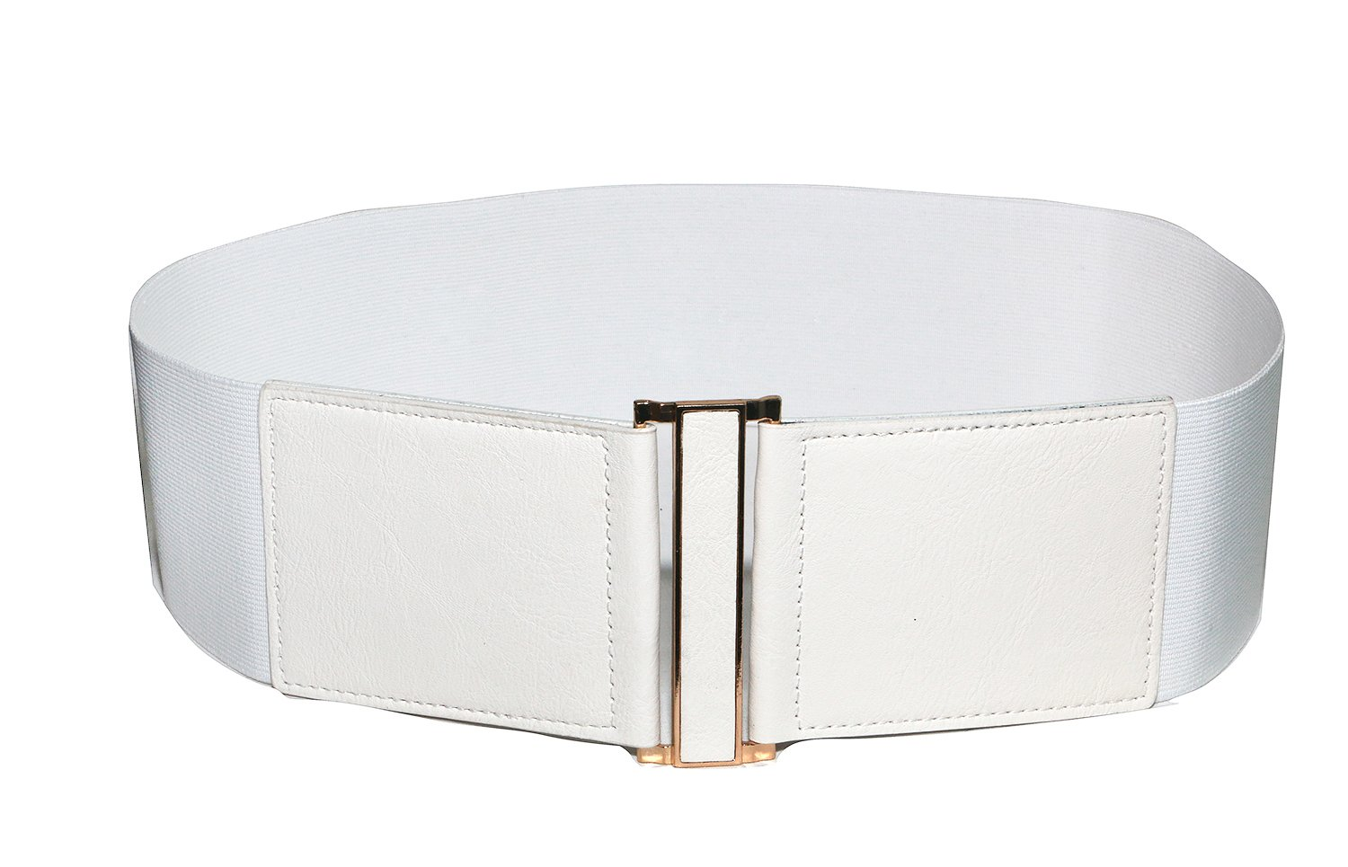 Modeway Women's Leather 3''wide Elastic Stretch Cinch Waist Belt, Metal Buckle Fashion Waistband (Large(33-36inch), White)